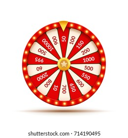 Wheel Of Fortune lottery luck illustration. Casino game of chance. Win fortune roulette.