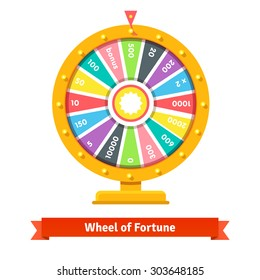 Wheel of fortune with number bets. Flat style vector illustration isolated on white background.