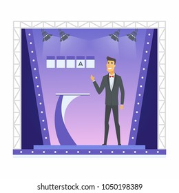 Wheel of fortune presenter - cartoon people character isolated illustration on white background. A young smiling man in a TV program, standing next to the podium with a word puzzle behind him