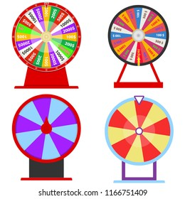 A wheel of fortune, a set of several wheels of fortune. Wheel of the casino. Flat design, vector illustration, vector.