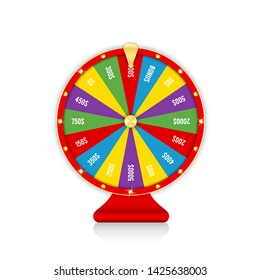Wheel of fortune, spinning fortune wheel in red and golden colors. Realistic roulette design for lottery, casino games. Vector