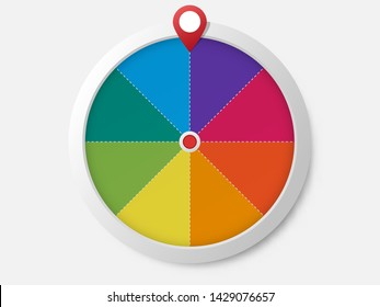 Wheel of fortune template .  Roulette vector blank .