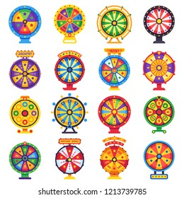 Wheel of fortune. Turning lucky spin game wheels, spinning money roulette motion, gamble opportunity win prize. Gambling casino jackpot luck chance isolated symbols flat vector set
