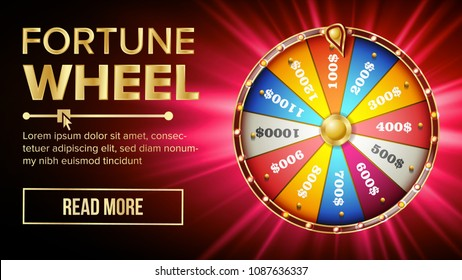 Wheel Of Fortune Vector. Gamble Chance Leisure. Colorful Gambling Wheel. Jackpot Prize Concept Background. Bright Illustration