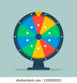 Wheel of fortune vector illustration of a flat. Empty colorful wheel of fortune isolated from the background.