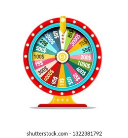 Wheel of Fortune Vector Symbol. Money Game Icon. Casino Lottery Concept.