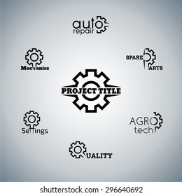 Wheel gear elements for your project, black and white graphic set, vector template,