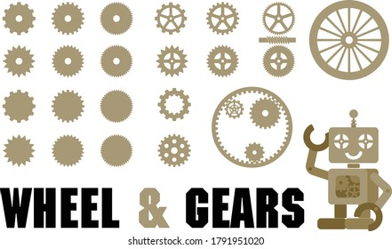 Wheel and gear of vector illustrations