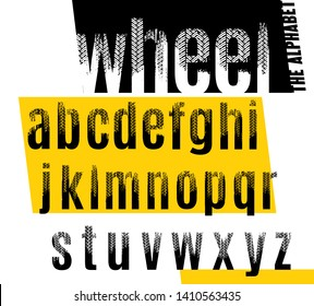 Wheel. Grunge tire letters. Off road lettering in a black color isolated on white background. Editable vector illustration. Grunge typography useful for automotive poster, print, leaflet design.