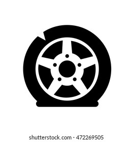 Wheel icon. Flat tire. Flat vector stock illustration