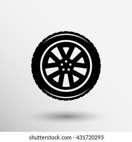 wheel icon isolated symbol tire illustration machine car repair on white background.
