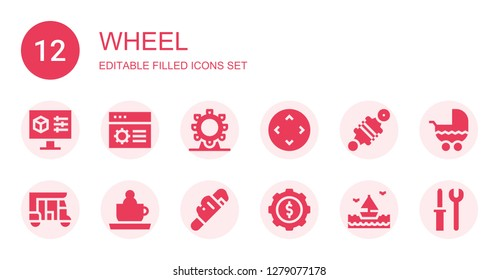 wheel icon set. Collection of 12 filled wheel icons included Settings, Ferris wheel, Controller, Damper, Tuk tuk, Ride, Wrench, Cogwheel, Sea, Stroller, Tools
