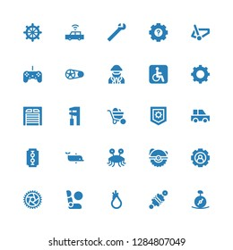 wheel icon set. Collection of 25 filled wheel icons included Unicycle, Damper, Tool, Airbag, Wheel, Setting, Saw, Pastafarianism, Dolphin, Blade, Car, Settings, Wheelbarrow, Wrench