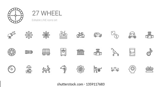 wheel icons set. Collection of wheel with car, engine, settings, dolphin, mars rover, food stall, saw, stroller, valve, roller coaster, ice cream machine. Editable and scalable wheel icons.