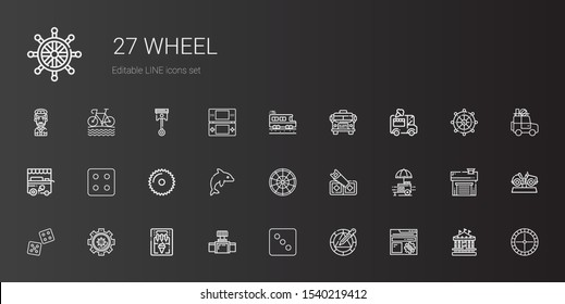 wheel icons set. Collection of wheel with settings, dice, valve, ice cream machine, food stall, saw, roulette, dolphin, ice cream cart, ice cream car. Editable and scalable wheel icons.
