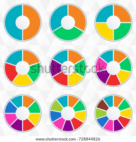 wheel infographics template pie chart set stock vector royalty free