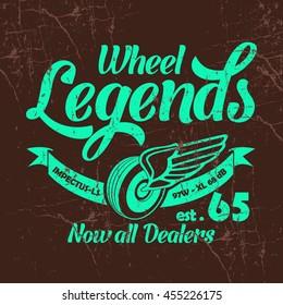 Wheel Legends vector T-shirt design.
