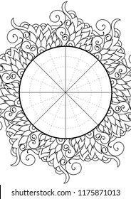 Wheel of Life. Life balance wheel radial diagram. Psychology and coaching tool for self development. Personal purposes chart with trendy zentangle inspired design.