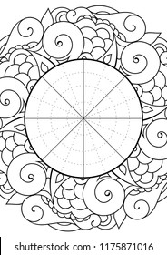 Wheel of Life. Life balance wheel radial diagram. Psychology and coaching tool for self development. Personal purposes chart with elegant zendoodle design.