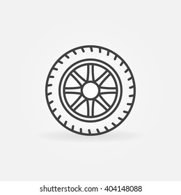Wheel linear icon - vector minimal car tyre symbol or sign