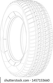 Wheel linear vector car tyre. Vector thin line illustration of wheel. Realistic Rendered tire. Wire-frame style. The layers of visible and invisible lines are separated. Tyre lineart outline blueprint