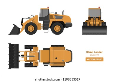 Wheel loader on white background. Top, side and front view. Hydraulic machinery image. Industrial drawing of bulldozer. Diesel digger blueprint. Vector isolated illustration