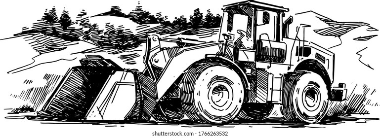 Wheel Loader in a quarry. Hand drawn illustration
