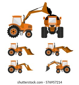 Wheel loader, tractor, bulldozer, backhoe. Vector illustration
