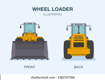 Wheel loader truck. Front and back view. Flat vector illustration.