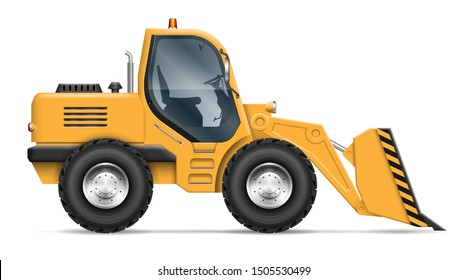 Wheel loader view from side isolated on white background. Construction and mining vehicle vector template, all elements in the groups on separate layers for easy editing and recolor