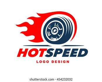 Wheel logo. Fast speed with a fiery trail