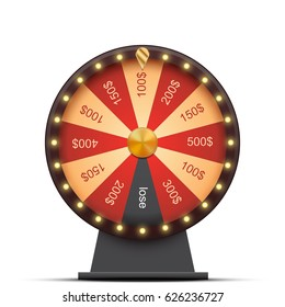 Wheel  with money prizes, isolated on white