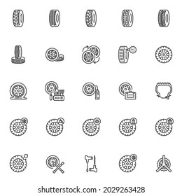 Wheel Repair line icons set. linear style symbols collection, outline signs pack. Tyre repair service vector graphics. Set includes icons as checking tire pressure, puncture car wheel, air compressor