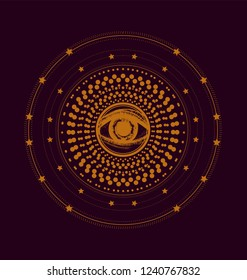 Wheel samsara with all seeing eye. Orange circles pattern on the dark background.