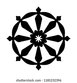 The Wheel of Samsara. Oriental Sacral Religious Symbol of Reincarnation: the cycle of death and rebirth to which life in the material world is bound (fundamental assumption of all Indian religions).
