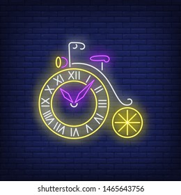 Wheel shaped clock neon sign. Vintage bicycle, watch, retro. Time concept. Vector illustration in neon style, glowing element for posters, banners, flyers