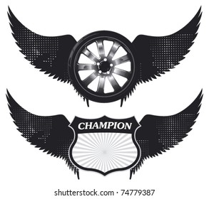 wheel and shield with grunge wings