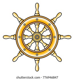 wheel ship icon, captain symbol, steering wheel ship art deco  element,  vector icon illustration