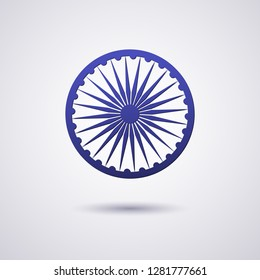 The wheel symbol on the India flag is Dharmachakra Ashoka Chakra Wheel of Law ancient Indian solar sign Chakra is a symbol of the ancient origin of India culture prosperity Design element Vector wheel