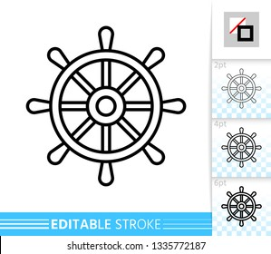 Wheel thin line icon. Ship banner in flat style. Helm poster. Nautical Linear pictogram. Simple illustration, outline symbol. Vector sign isolated on white. Editable stroke icons without fill