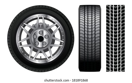 Wheel - Tire and Rim With Brakes is an illustration of a wheel with tire and alloy rim  showing rotor and brakes. Also includes front view of tire and tire track.