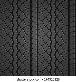 Wheel tire seamless pattern. Vector realistic illustration