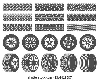 Wheel tires. Car tire tread tracks, motorcycle racing wheels icons and dirty tires track. Motocross bike trail, vehicle track or auto race tires. Vector isolated symbols illustration set