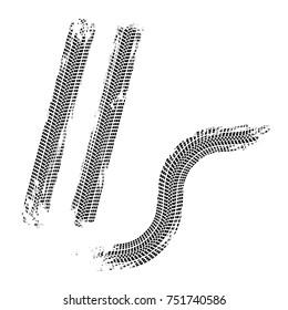 Wheel traces brushed marks vector illustration.