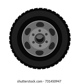 Wheel for transport in detail with Flat and solid color design. Illustrated vector