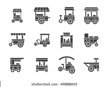 Wheel trolley and equipment for street vending or fast food. Mobile shops, cart stalls. Collection of symbolic black glyph style vector icon
