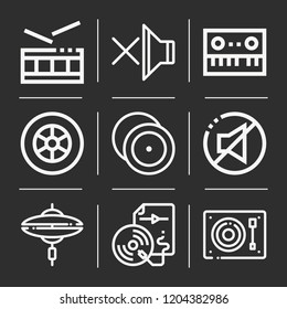 Wheel, turntable, cymbal, cymbals, audio file, piano, drum icon set suitable for info graphics, websites and print media and interfaces