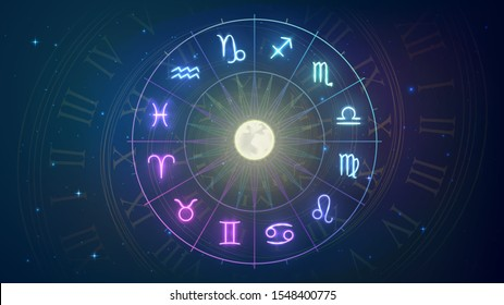 Wheel with twelve signs of the zodiac in night sky, astrology, esotericism, prediction of the future.