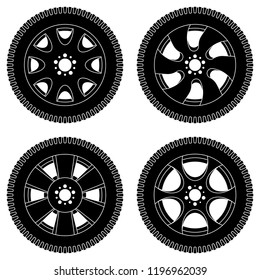 Wheel with tyres. Black icons set. Vector illustration isolated on white background