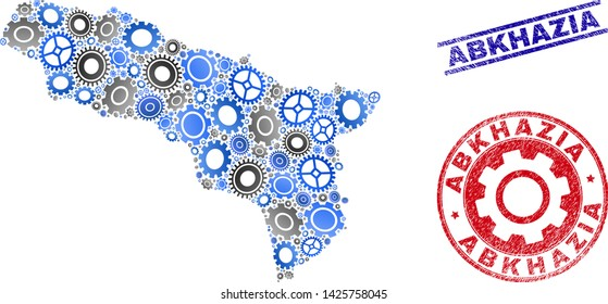 Wheel vector Abkhazia map collage and seals. Abstract Abkhazia map is done of gradiented randomized gears. Engineering territorial scheme in gray and blue colors,